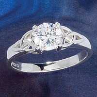CZ Trinity Ring                                    - New Age, Spiritual Gifts, Yoga, Wicca, Gothic, Reiki, Celtic, Crystal, Tarot at Pyramid Collection