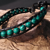 Leather Wrap Bracelet with Green Agate Beads