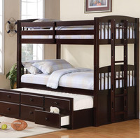 Kids,Twin Over Twin Triple Bunk Bed with Trundle and Storage