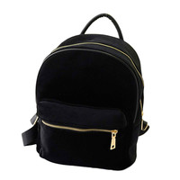Backpack Women Gold Velvet Solid Color Fashion Design Backpack Rucksack Girls School Book Shoulder Bag Mochila #0830