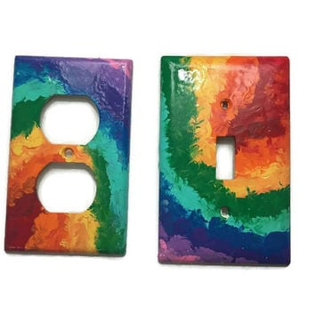Rainbow Tye Dye - hand painted single light switch plate and electrical outlet custom sizes double triple toggle and rocker