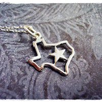 Tiny Texas State Outline Lone Star Charm Necklace in Sterling Silver with a Delicate 18 Inch Sterling Silver Cable Chain