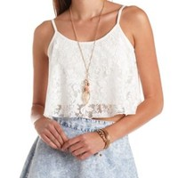 Lace Swing Crop Top by Charlotte Russe - Ivory
