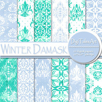 "Damask digital paper ""Winter Damask"", Christmas, winter background, watercolor digital paper, frozen, damask ornament, tiles, blue teal"