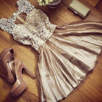 Slim Casual Elegant Dress with Lace