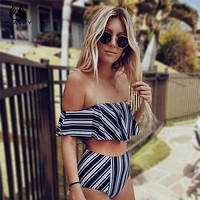 White Black Striped High Waist Ruffled Swim Bathing Suit Swimsuit