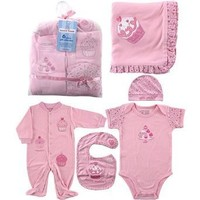 Hudson Baby 6-Piece Little Sweetie Girls Gift Collection - Pink, 0-6 Months