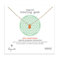 healing gem red aventurine necklace, gold dipped, 16 inch