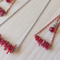 Set Red Turquoise chips Earrings and necklace/Tribal Turquoise Stones Set/ Ethnic red turquoise set/ Modern necklace/Modern pendant earrings