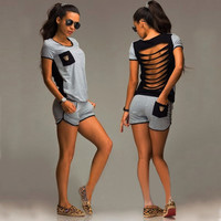 Stylish Casual Hollow Out Short Sleeve Shorts Set [4970290628]