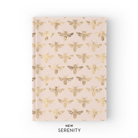 Hardcover Journal / Hardcover Notebook - Honey Bee Faux Rose Gold, Bee Pattern, Pink, Gift for Her, NewSerenityStudio