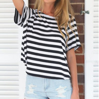 Casual Striped Pattern Loose T-Shirt