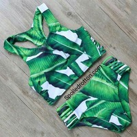 Strappy Palm Halter Bikini Set