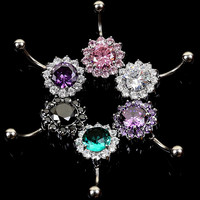 New Charming Dangle Crystal Navel Belly Ring Bling Barbell Button Ring Piercing Body Jewelry = 4661634244