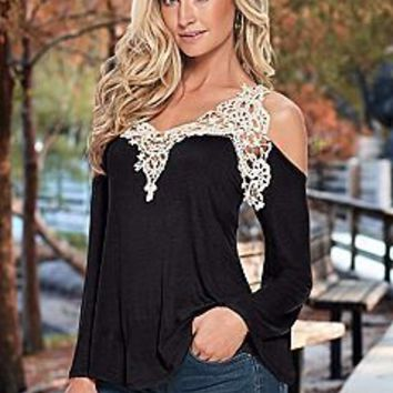 Lace Patchwork Cutout Shoulder Long Sleeve Shirt