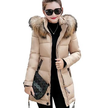 New fur collar plus size winter hooded outerwear long Slim jacket