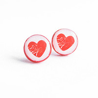 Red heart stud earrings, romantic jewelry,