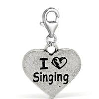 "Clip on ""I Love Singing "" Charm Pendant for European Jewelry w/ Lobster Clasp"