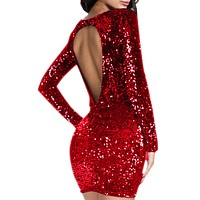 Sequin dress Sexy backless Women Long Sleeve Flapper Tight buttocks robe Club wear Party Dress woman clothes Red Black Champagne