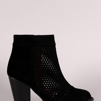 Perforated Suede Chunky Heeled Booties