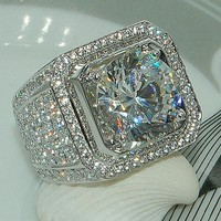 RE Luxury Full Crystal Big Stone AAA Cubic Zirconia Ring For Men Male Metal Plated Zircon Rings Size 8#-13#