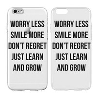 Inspirational quote iphone case, Worry Less Smile More, Transparent Skin, Scratch Proof Protective Slim Case for iPhone 6 plus 6s plus