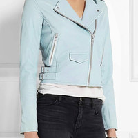 Sky Blue Leather Moto Jacket