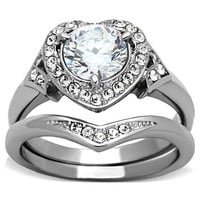 Halo Heart CZ  Stainless Steel Wedding Ring Set