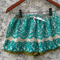 Paisley Boho Tribal Print Shorts Beach Hippie Summer Style Clothing Aztec Ethnic Bohemian Ikat Boxer Cute Women Thaicloth Unique Green
