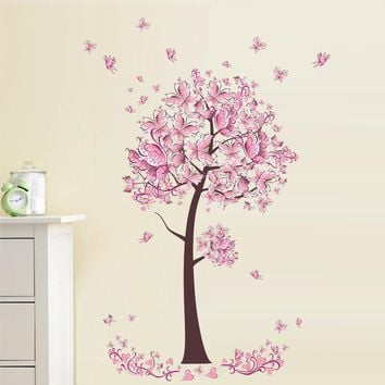 Pink Butterfly flower tree wall sticker Living Room Bedroom Wall Decal TV Sofa Background Home Decor Mural Wallpaper