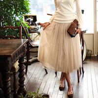 Claire Cream Layered Tulle Princess Knee-Length Skirt