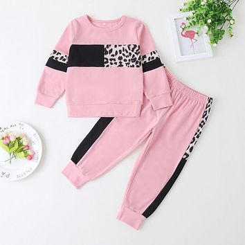 Autumn Outdoor Sport Kids Clothes Set For Girls 2020 Fashion Leopard Running Long Sleeve Baby Girl Outfits Girls Cotton Suit D30
