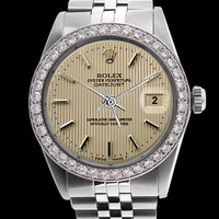 SS jubilee gents Rolex watch brown stick dial diamond bezel datejust