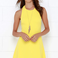 Count On Me Yellow Halter Dress
