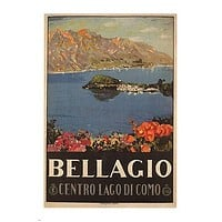Bellagio Lake Como POSTER Livio Apolloni Italy 1926 24X36 Lovely Flowers