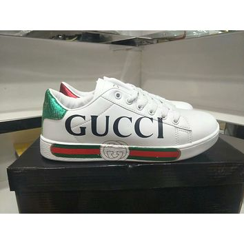 """""""Gucci"""" Unisex Casual Fashion Multicolor Stripe Letter Print Small White Shoes Couple Plate Shoes Sneakers"""