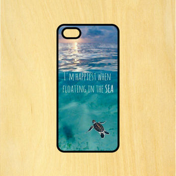 I'm Happiest When I'm Floating in the Sea Turtle Art Phone Case iPhone 4 / 4s / 5 / 5s / 5c /6 / 6s /6+ Apple Samsung Galaxy S3 / S4 / S5 / S6