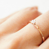 Rose gold solitary cz ring,simple engagement ring,tiny cz ring