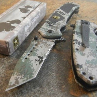 Army Spring Assisted Opening Tactical Folding Pocket Knife Blade