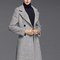 Double Breasted Wool Blend Trench Coat