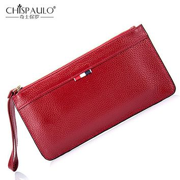 2017 Genuine Leather Women Wallets High Quality Zipper Ladies Coin Purse Female Clutch Bag Money Credit Card Holder Phone Bags