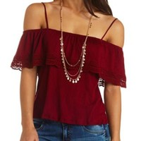 Off-the-Shoulder Crocheted Flounce Swing Top - Burgundy