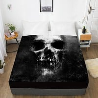 Scary Dark Skull Fitted With Elastic Bed Sheet