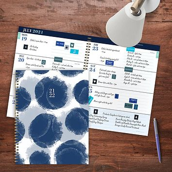 July 2021-June 2022 Paint Spots Large Daily Weekly Monthly Planner + Coordinating Planning Stickers