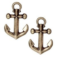 Brass Oxide Finish Pewter Anchor Charm 19.5mm (2)