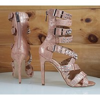 """CR Rose Gold Suzzy Straps & Silver Stud Design 4.5""""  High Heel Shoes Boots"""