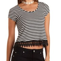 Lace-Trim Striped Swing Top by Charlotte Russe