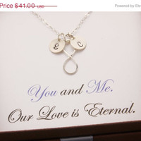 SALE: Infinity Necklace, message card jewelry, love necklace, mothers day jewelry, personalized jewelry, mom necklace, eternity necklace, N2