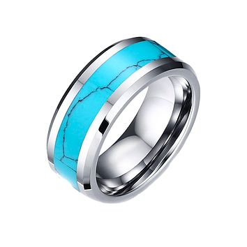 Rio Grande - Inlay Turquoise Center Band and Tungsten Carbide Comfort Fit Ring