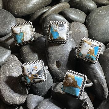 Square White Buffalo and Turquoise Genuine Ring